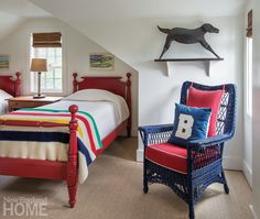 Cape Cod Amos House: An upstairs guest room in the original house sports bright primary colors. Bedroom Red, Dream Bedroom, Kids Bedroom, Bedroom Decor, Cape Cod, Nantucket Cottage, Creative Kids Rooms, Upstairs Bedroom, New England Homes