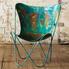 Iron Sling Chair in Aqua