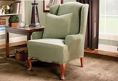 Sure Fit Slipcovers Stretch Stripe Wing Chair - Wing Chairs