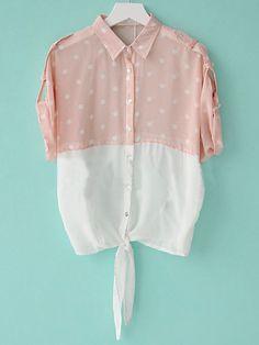 Pink Lapel Short Sleeve Color Block Polka Dot Single Breasted Chiffon Shirt
