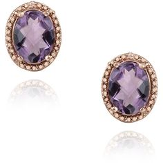 Glitzy Rocks Rose Gold/ Silver 3 1/3ct TGW Amethyst and Diamond... ($32) ❤ liked on Polyvore featuring jewelry, earrings, purple, fake diamond earrings, long silver earrings, round stud earrings, amethyst earrings and butterfly stud earrings