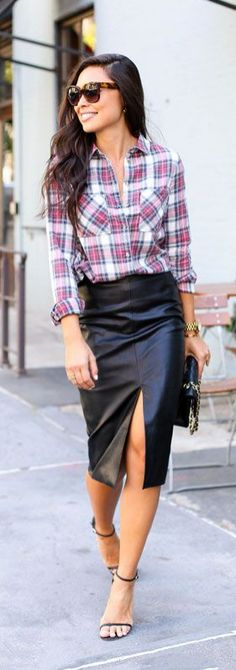 Dress down your leather skirt with a simple plaid button-down! This look is perfect for brunch with the gals, casual holiday gatherings and more! What's your favorite print this holiday season to wear? Are you planning to rock a leather skirt?
