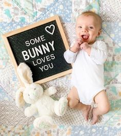 Baby Letter Board Ideas: Newborn - 3 Months - DIY Darlin' Plush Bunny Ears Hairbands Rabbit Ears for baby Easter My first easter easter Babys easter Baby girl first easter Baby Boy Pictures, Newborn Pictures, Easter Pictures For Babies, Funny Baby Photos, Newborn Pics, Newborn Care, Monthly Baby Photos, Milestone Pictures, Baby Letters