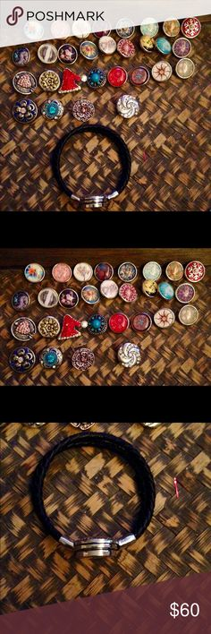 NWT Huge Jewelry Snap Lot!! NWT Huge Jewelry Snap Lot!!, PU Leather strong magnetic black bracelet, comes with 20 Glass Snaps and 9 Large Metal Rhinestone and Crystal Snaps , read my reviews excellent quality!! Jewelry Bracelets