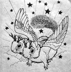Two headed flying Jackalope squirrel illustration