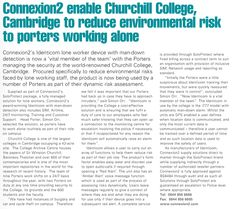 Connexion2 Enable Churchill College, Cambridge to Reduce Environmental Risk to Porters Working Alone