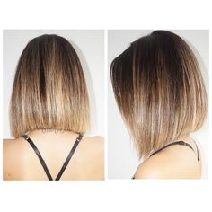 A-line straight bob with ombre highlights