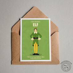 Elf - Minimalistic Christmas Card designed by Posteritty #ChristmasCards #Xmas #minimalchristmas #Posteritty #XmasMovies #BestChristmasMovie