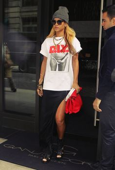 """Rhi Rhi \nnn/  #Rhianna hertrès kühl  risqué DIY tee is one #lollapalooza: a corker, a beaut, a knockout, outstanding, fine and grand, it totally rocks, awesome, dope! The Dopeness!!! ☠☠☠™ see how the pic shows a grrl with her hand upon what I might refer to, euphemistically as """"her mother and child parking area..."""" go grrl go """"you have bewitched me, body and soul"""" as Dr. Darcy said, thank you; très kühl ☠☠☠™ --"""