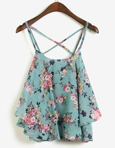 Loose-Fitting Scoop Neck Floral Print Spaghetti Strap Tank Top For Women