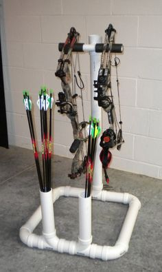 Simple PVC Bow Stand. This would be a fun, simple project that would be great to have when practicing archery.