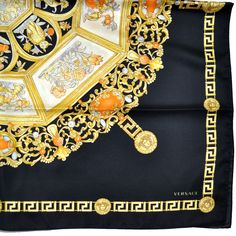 Genuine Versace scarf with signature black/ gold Barocco/ Greek Knit/ Medusa design, large silk square foulard