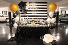 Celebrate with Cake!: Black, White and Gold Dessert Table