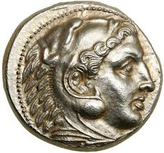 Nearly mint state tetradrachm of Alexander III the Great, minted in Pella, Macedon c. BC This coin shows the head of Herakles right, wearing lion's skin headress. On the reverse AΛEΞANΔPOY. Classical Greece, Gold And Silver Coins, Antique Coins, Alexander The Great, Rare Coins, Ancient Artifacts, Coin Collecting, Ancient Greece, Archaeology
