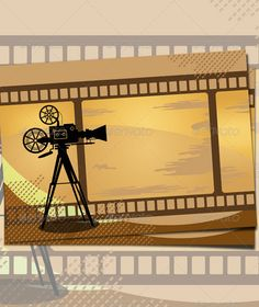 Buy Vintage Cinema Background by faqeeh on GraphicRiver. Vintage cinema background, with flim strips and old camera in format. Zip archive contains AI Illustrator document.