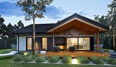Projekt domu parterowego Simon III G2 energo o pow. 126,16 m2 z obszernym garażem, z dachem dwuspadowym, z tarasem, sprawdź! Craftsman Home Exterior, Modern Craftsman, Village House Design, Village Houses, Beautiful House Plans, Beautiful Homes, Small Cottage Homes, Rest House, Home Modern