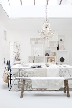 Vosgesparis: Welcome to the wonderful world of SUKHA AMSTERDAM  picture:Jeltje Janmaat  tipi -  cushions lace chandelier white hop interior