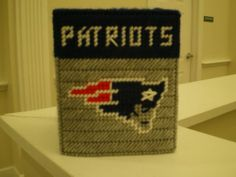Handmade Plastic Canvas New England Patriots Tissue Box