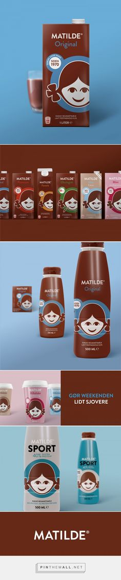 Graphic design and packaging for MATILDE - Brand identity on Behance by IDna Group Copenhagen, Denmark curated by Packaging Diva PD. Cutest chocolate milk packaging for the smile file : )