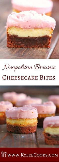 Cute little Neapolitan Brownie Cheesecake Bites are made up of brown/white/pink layers. Perfect for entertaining, and so whimsical! via @kyleecooks #ad @immaculatebakes