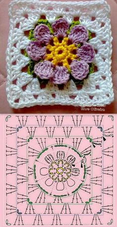 crochet granny square rose sExtremely beautiful and vibrant, this Free Daffodils Granny Square Crochet Pattern is simply amazing.Cute granny square with flower motif.Crochet Diagram Flowers - crochet owl of african hexagone chart. Crochet Flower Squares, Flower Granny Square, Crochet Motifs, Granny Square Crochet Pattern, Crochet Blocks, Crochet Diagram, Crochet Chart, Love Crochet, Crochet Granny