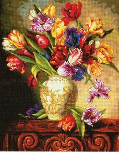 Parrot Tulips Cross Stitch Kit - £41.00 on Past Impressions | by Dimensions