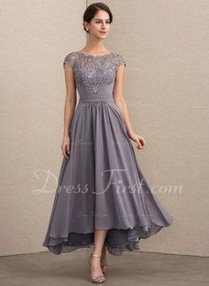 8572ecade4a A-Line Princess Scoop Neck Asymmetrical Chiffon Lace Mother of the Bride  Dress (
