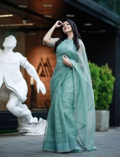 Malayalam Actress Gaadha photoshoot stills by Pranav Raaj - South Indian Actress Trendy Sarees, Stylish Sarees, Fancy Sarees, Stylish Dresses, Simple Sarees, Silk Saree Blouse Designs, Fancy Blouse Designs, Half Saree Designs, Blouse Patterns