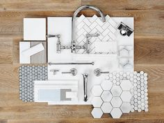Home Decor Inspiration : Interior Finishes by Carlyle Designs Mood Board Interior, Interior Design Boards, Decor Interior Design, Interior Decorating, Room Interior, Layout Design, Tile Design, Interior Design Presentation, Presentation Boards