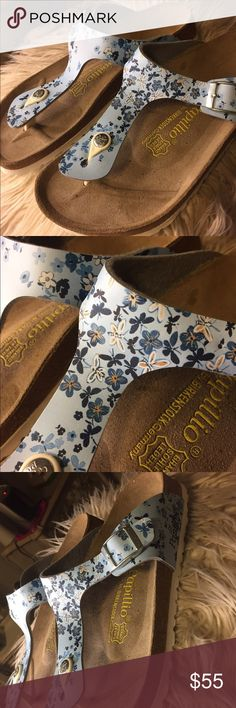 NWOT PAPILLIO BY BIRKENSTOCKS 💞 These are literally brand new without tags. They are adorable light blue floral/butterfly design. Thong strap for inbetween toes. They are from Birkenstock. They have never even been worn. White on the bottom. Birkenstock Shoes Sandals