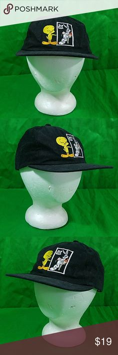 Vintage Looney Tunes Hat 97 Tweety Bird Bugs Bunny Preowned  Relaxed 6 panel cap True Vintage USPS Looney Tunes Stamp collection baseball hat snapback Looney Tunes Accessories Hats