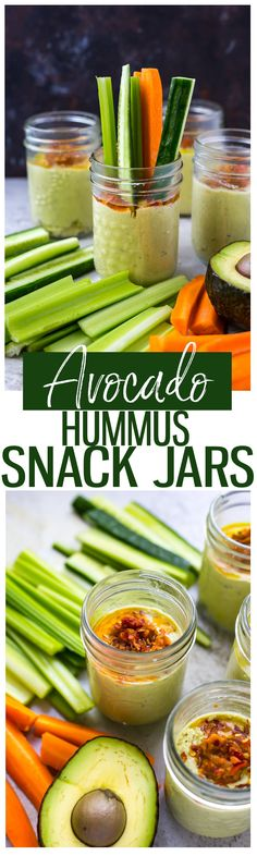 These Avocado Hummus Snack Jars are a delicious and healthy snack that's high in fibre and filled with good fats! Enjoy on-the-go with veggies and crackers, or as the perfect portion size after work! - The Girl on Bloor Best Appetizers, Appetizer Recipes, Snack Recipes, Dip Recipes, Clean Eating Recipes, Clean Eating Snacks, Healthy Eating, Easy Snacks, Healthy Snacks