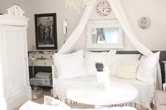 White Shabby Living Room by {White and Shabby} #VintageStorehouseStyle