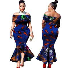 2017 New Fashion Design Traditional African Clothing Print Dashiki Slash Neck African Mermaid Sexy Dresses for Women African Dresses For Women, African Print Dresses, African Attire, African Wear, African Fashion Dresses, African Women, Fashion Outfits, Womens Fashion, African Style