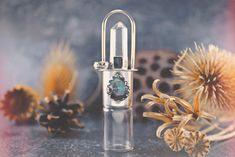 Essential oil electroformed vial labradorite empty roller ball pendant copper glass amber crystal Labradorite Rollerball Necklace