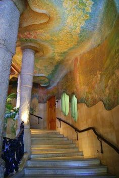 Casa Mila staircase Gaudi 1910, Barcelona, Spain.