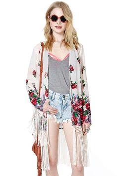 On The Fringe Kimono white/multi floral poly szS 58.00