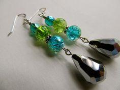 Silver Earrings Beach Earrings Swarovski Crystal Earrings Aqua Blue Earrings Green Beaded Earrings- Lime daiquiri