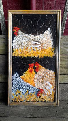 Nesting Hens Cupboard Door Rejuvenated Junk into Art Hand Painted Original Art Chickens