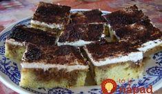 Veľmi šťavnaté rezy s kyslou smotanou od Martinky: Chutí úplne ako Tiramisu – recept tak úžasný, že ho pýtala aj svokra! Tiramisu, Deserts, Food And Drink, Cupcakes, Pizza, Treats, Baking, Ethnic Recipes, Sweet