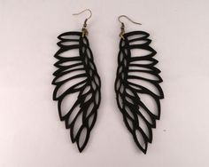 "Leather jewelry - ""Martin Pescador"" earrings BLACK by Laurel. $33.00, via Etsy."