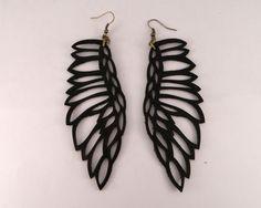 "Leather jewelry - ""Martin Pescador"" earrings BLACK by Laurel. $33.00, via Etsy."