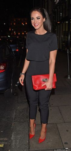 Vicky Pattison puts split behind her on night out with male friend, Black Dress Red Heels, Red Heels Outfit, Heels Outfits, Dress And Heels, Black And White Tops, Black Lace Tops, Evening Outfits, Night Outfits, Purple Heeled Sandals