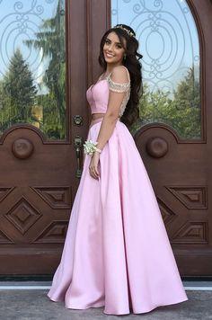 Pink Satin Prom Dress, Long A Line Short Sleeve 2 Piece Prom Dresses,Evening Formal