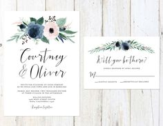 Dusty Blue and Blush Wedding Invitation by AlexaNelsonPrints