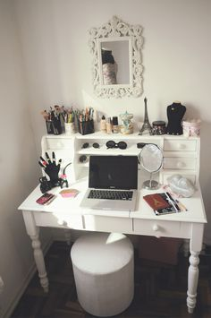 I need a shelf like this for my desk! mirror, office spaces, makeup vanities, dreams, white, desks, hous, bedrooms, vanity tables