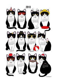 Cathy Peng Twelve Tuxedo Cats 2013 13 x 19 Print Calendar  #tuxedocat - Catsincare.com