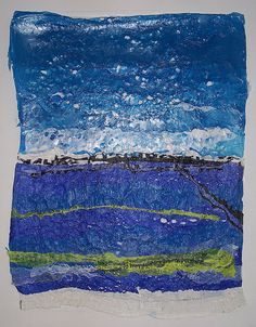 southend pier - fused carrier bags;  by Yvie Booth;  Seascape from junk bags
