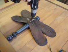 garden art dragonfly tutorial, crafts, gardening, repurposing upcycling, Once you have your holes drilled you will need 1 inch wood screws to attach the wings to the body Spindle Crafts, Wood Crafts, Garden Crafts, Garden Art, Yard Art Crafts, Garden Ideas, Garden Stakes, Garden Planters, Garden Design