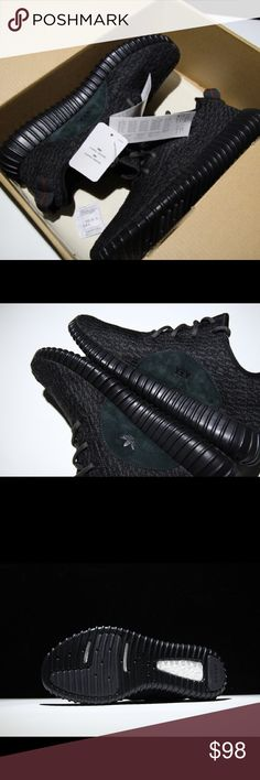 Adidas Yeezy boost 350 Pirate Black sneaker shoes New, comes with box and receipt.  My email: kevinrichter2017@gmail.com  PLEASE contact me to make sure the shoes are still available before Placing order.   I don't use Poshmark often, If you are interested and want to see insole,  tag, receipt, box...more detail pictures, contact me on email.   ----------------------------  womens women nike vans converse adidas puma roshe air max athletic sports white pink black purple heel high heeled flat…